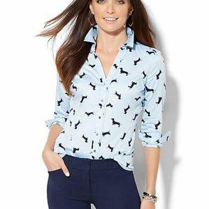 NY & Co. Dachshund Weiner Dog print button shirt L